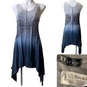 Vocal L gray burnout sleeveless tunic top